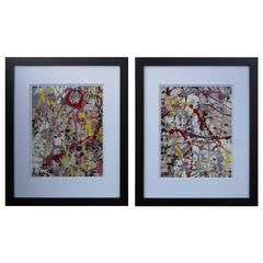 1980 Pair of Abstract Acrylic Paintings