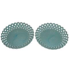 Pair of Antique Opaline Glass Plates