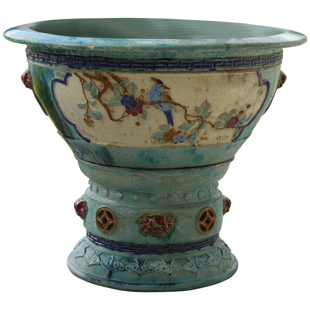 Chinese ceramic large garden planter at 1stdibs for Outdoor ceramic planters