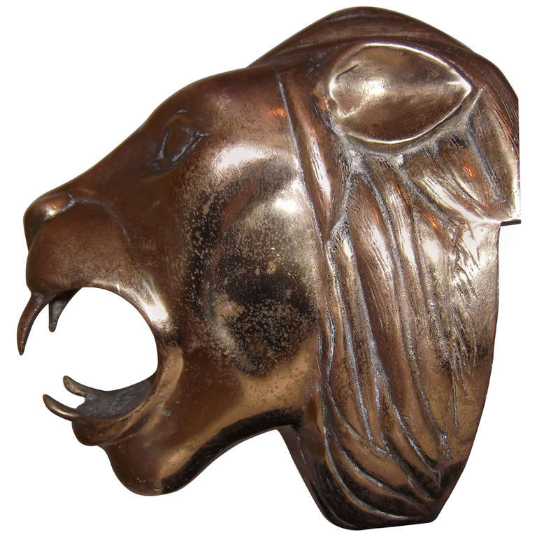 One of a kind brass lion head at stdibs