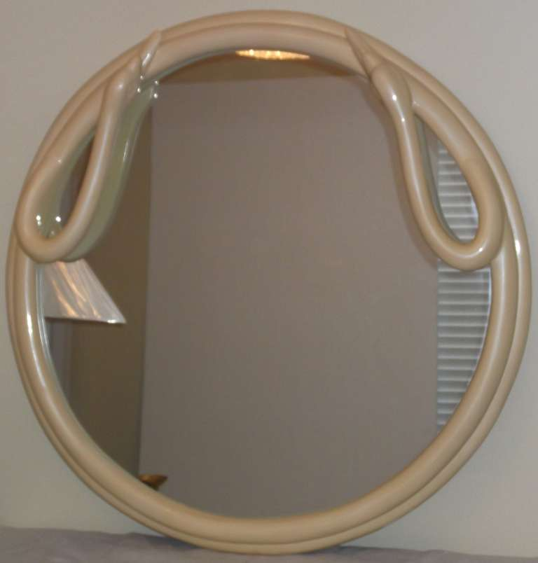 One Of A Kind Round Swan Mirror For Sale 4