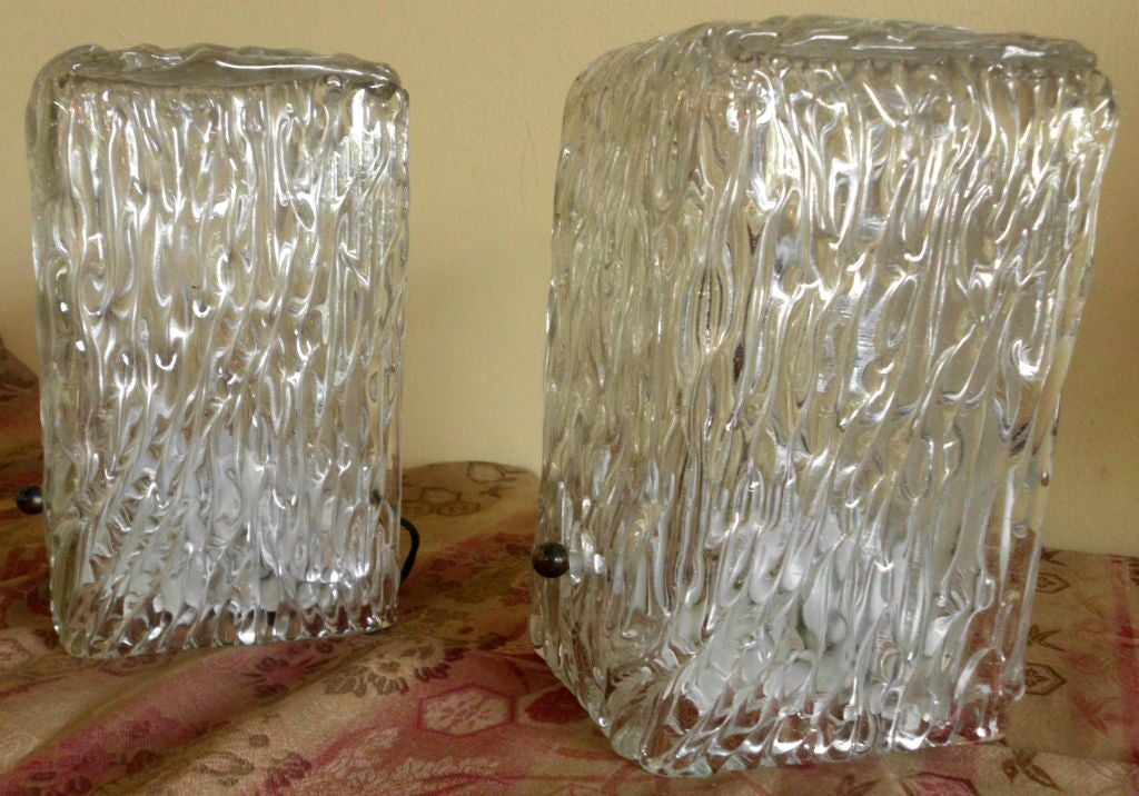 Pair of Textured Glass Wall Sconces at 1stdibs
