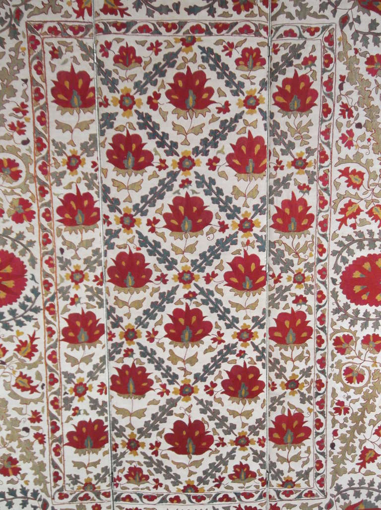 Mid-20th Century Hand Embroidery Suzani Textile Screen For Sale