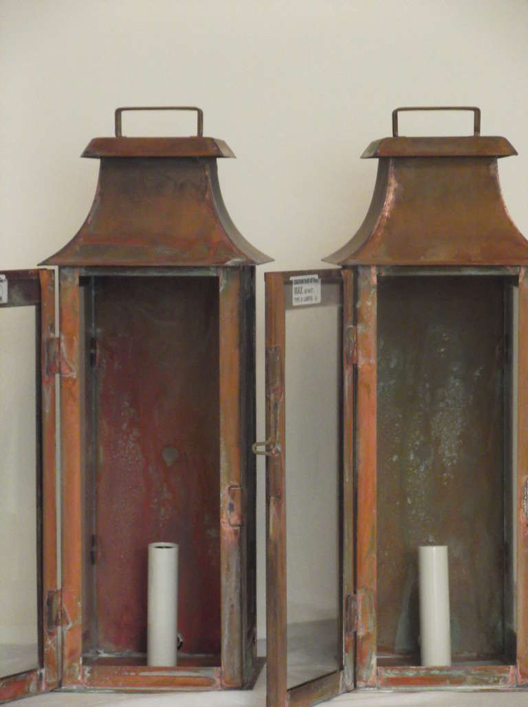 Wall Copper Lantern : Pair of Wall Mounted Copper Lantern at 1stdibs