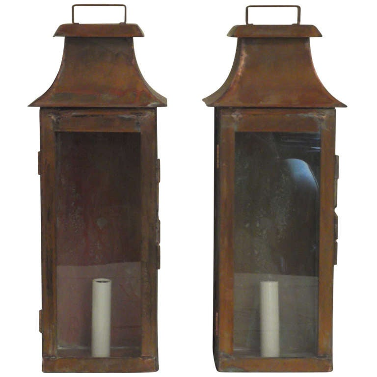 Pair of Wall Mounted Copper Lantern at 1stdibs