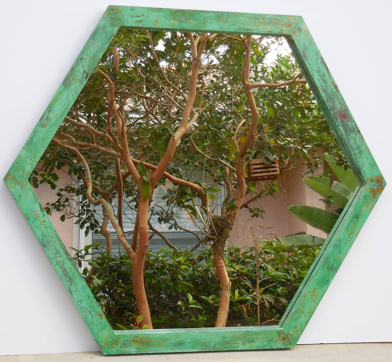 Large six  sides mirror made of brass with beautiful oxidized patina.