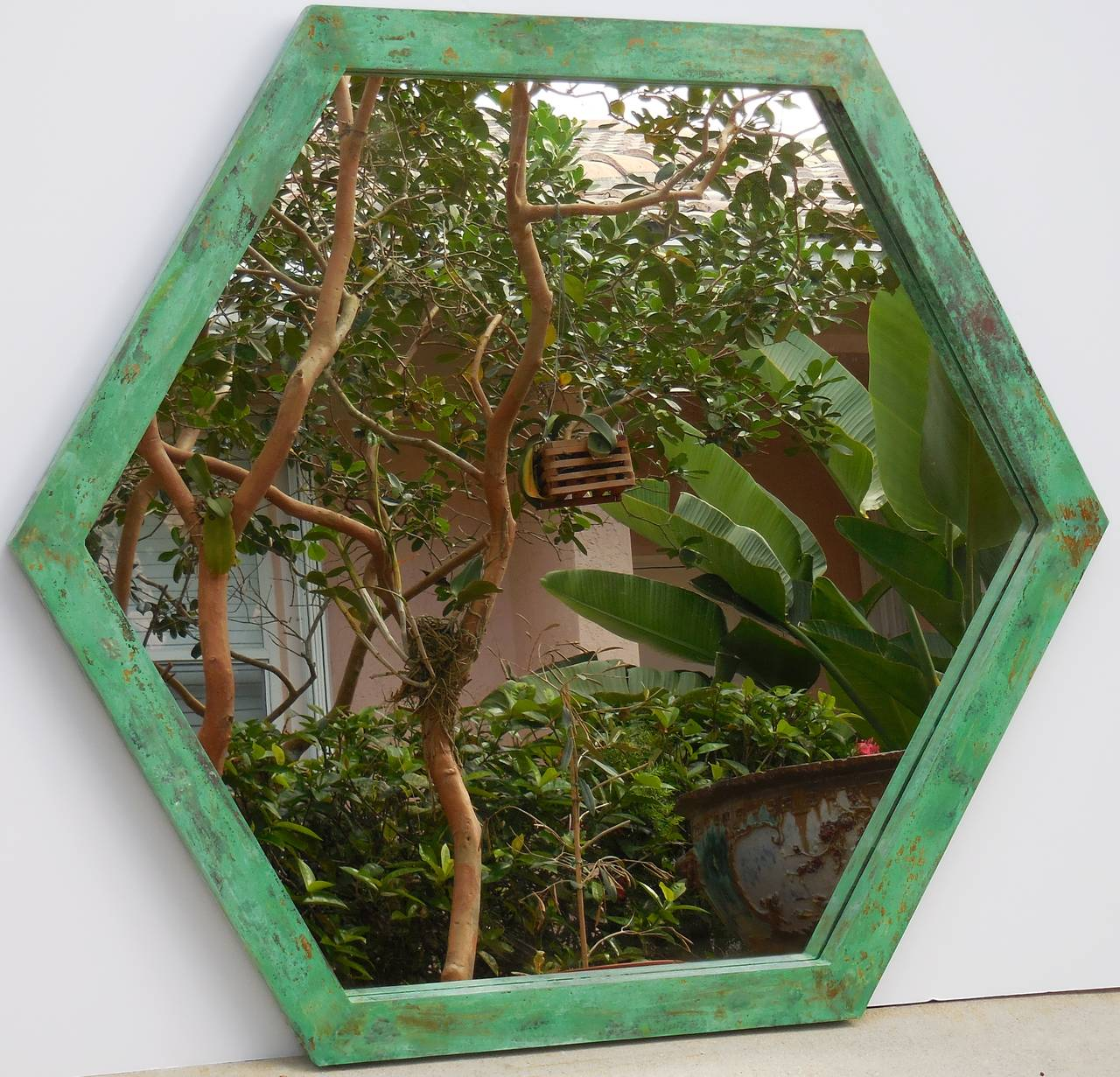Large Architectural Hexagon Brass Mirror In Good Condition For Sale In Delray Beach, FL
