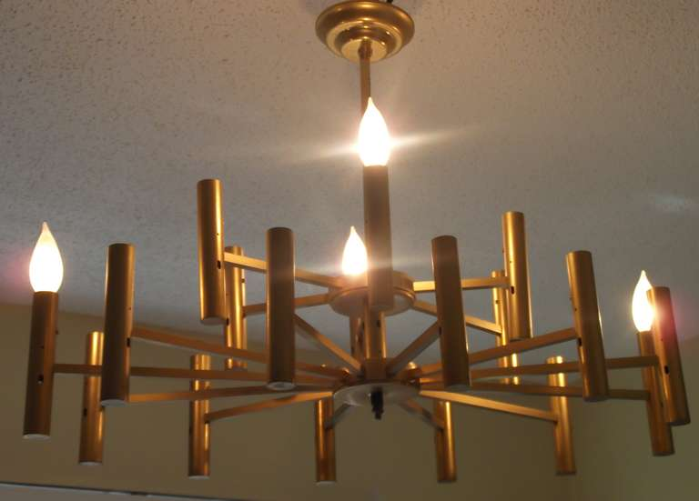 Beautiful tow tiers brass chandelier  with 18 lights  Fully wire ready to hang with the original canopy.