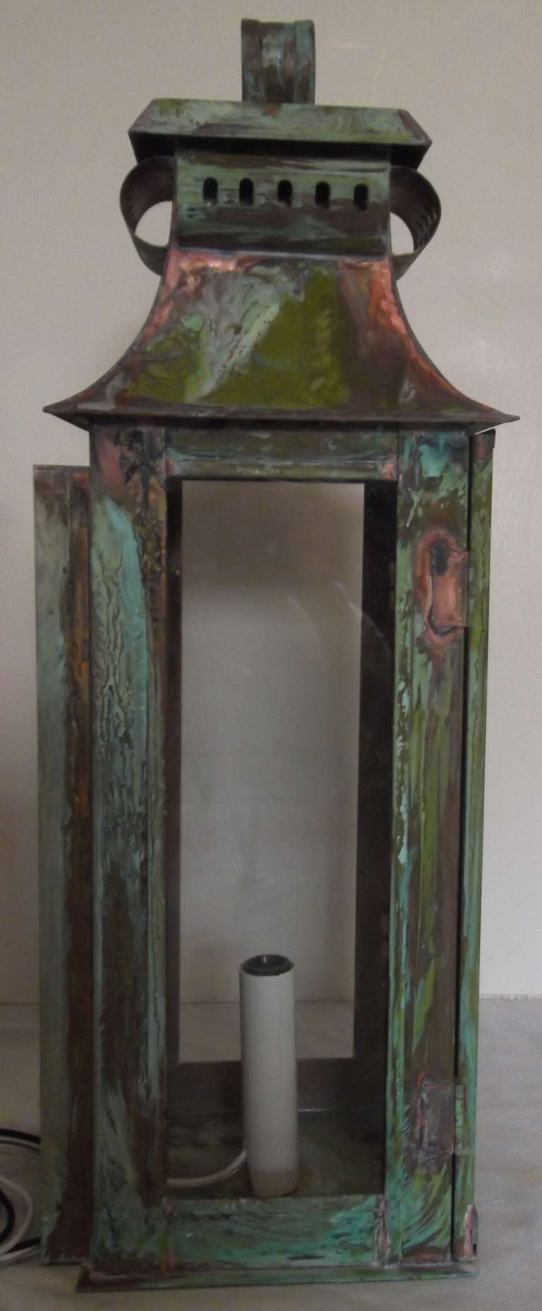 Wall Copper Lantern : Pair of Wall Copper Lanterns at 1stdibs