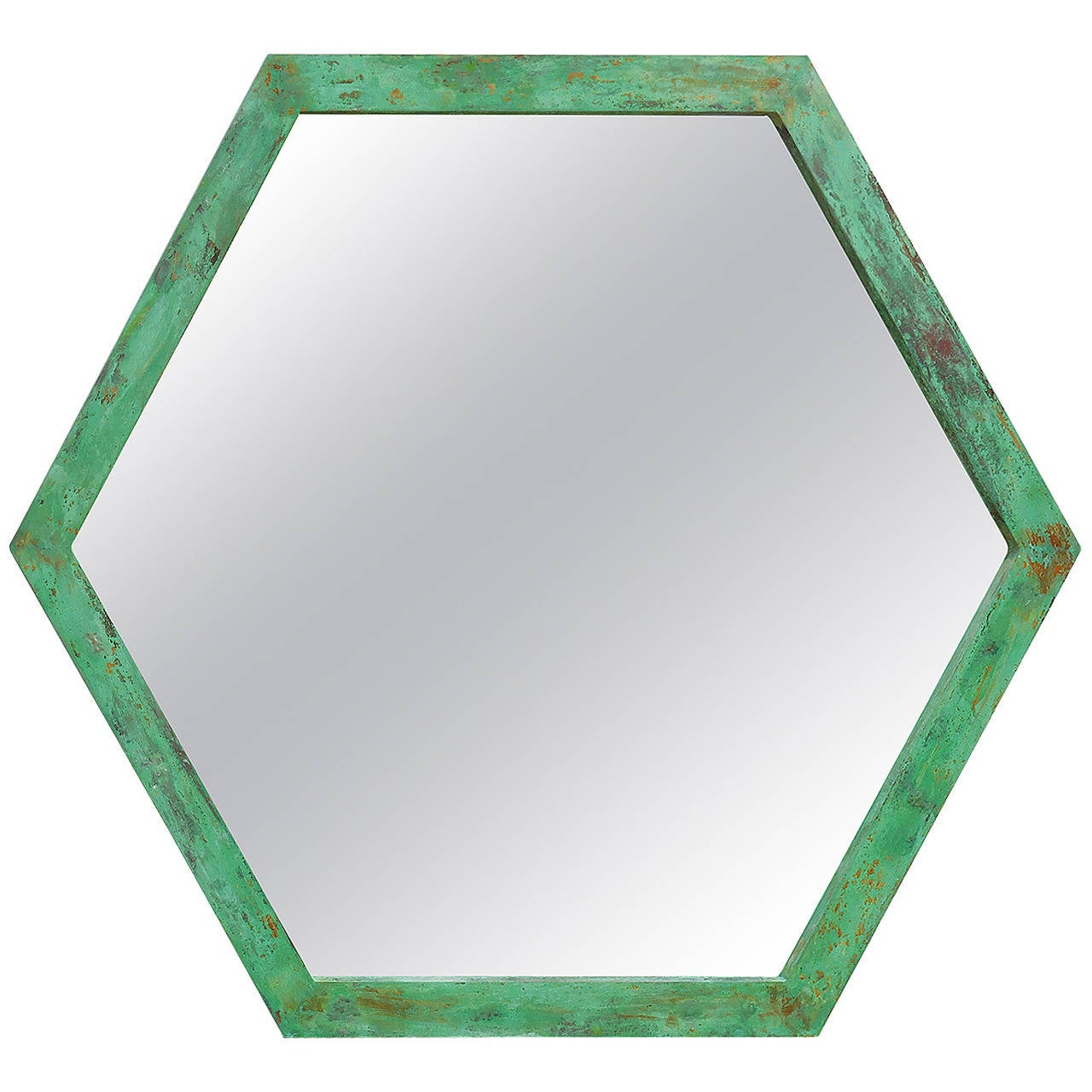Large Architectural Hexagon Brass Mirror For Sale