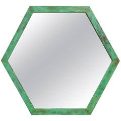 Large Architectural Hexagon Brass Mirror