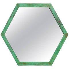 Large Architectural Hexagon Brass Mirror