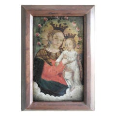 Antique oil painting on tin
