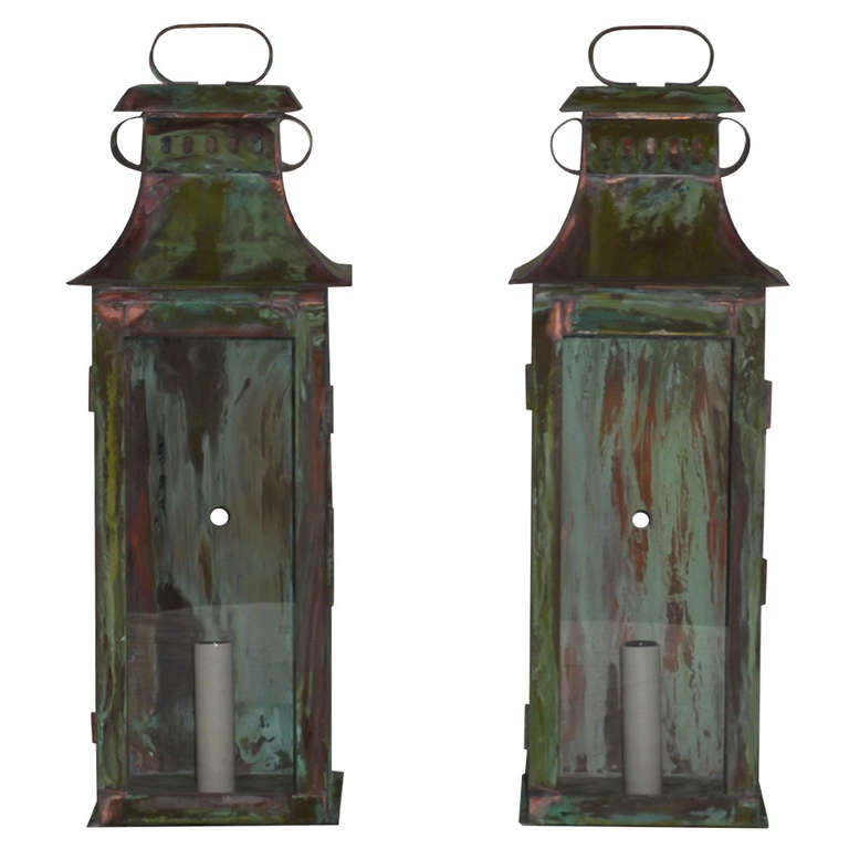 Pair of Wall Copper Lanterns at 1stdibs