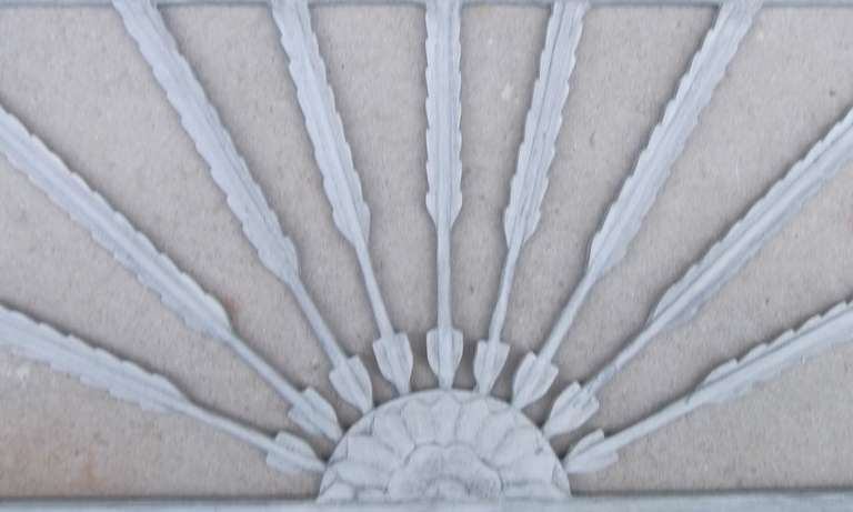 Beautiful architectural wall hanging, hand-carved and painted with light gray color with arrows motif.