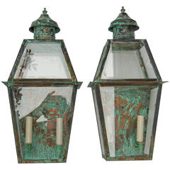 Pair of Wall Hanging Copper Lanterns