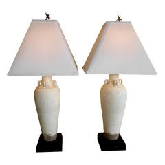 Pair of chinese  celadon table lamps
