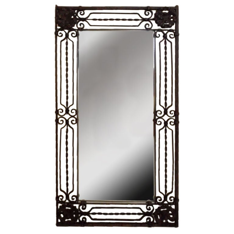 elegant hand twisted wrought iron mirror at 1stdibs