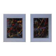 Pair of 1980 Abstract Acrylic Painting