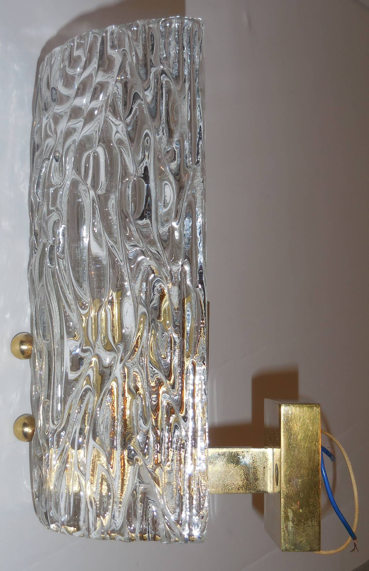 Wall Sconces Elegant : Pair of elegant textur glass wall sconces. at 1stdibs