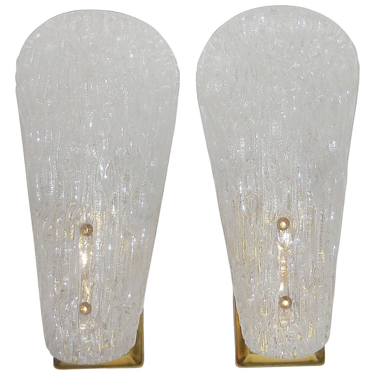 Elegant Pair Of 1960 Glass Wall Sconces At 1stdibs