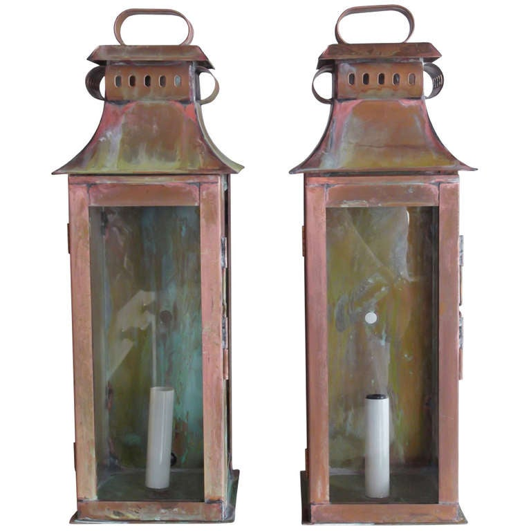 Wall Copper Lantern : Pair Of Copper Wall Lanterns at 1stdibs
