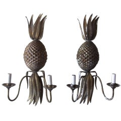 Pair of Pineapple Wall Sconces