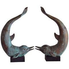 Funky brass Dolphin Sculptures