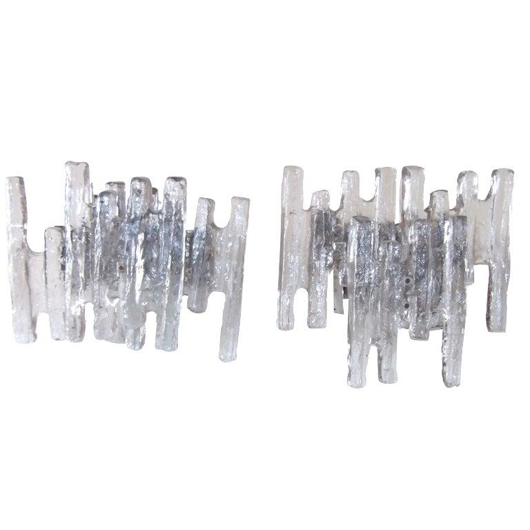 Pair Of Kalamr Textuer Glass Sconces