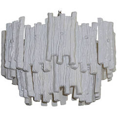 White Painted Lucite Chandelier