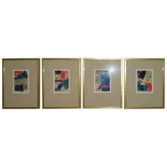 Set of Four 1960s Abstract Woodblock Painting