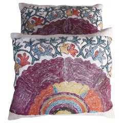Russian 19th century Floral print Suzani pillows