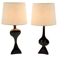 """Pair of Lamps in Bronze by Jacques Jarrige """"Adam and Eve"""""""