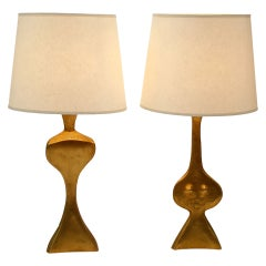 Unique Adam And Eve Gold Plated Bronze  Lamps By Jacques Jarrige