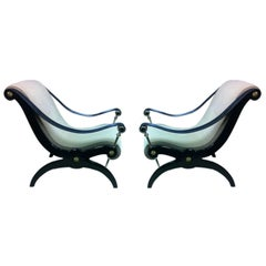 Pair of Maurice Hirsch Chairs with Leather Hand-Stitched Arms