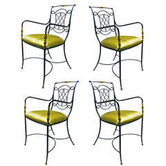 Rene Prou Chic Set of Four Chairs With Gold Leaf and Oxidized Iron