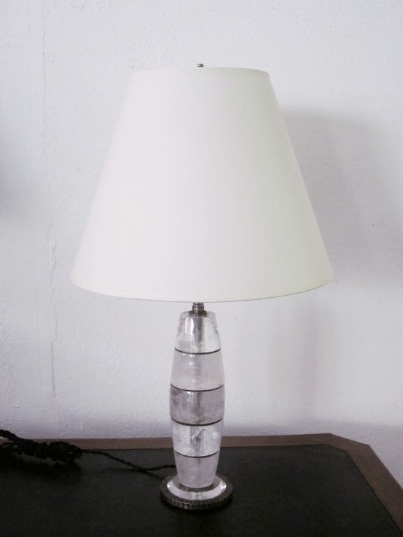 Pair of Genuine Rock Crystal Lamps In Excellent Condition For Sale In New York, NY