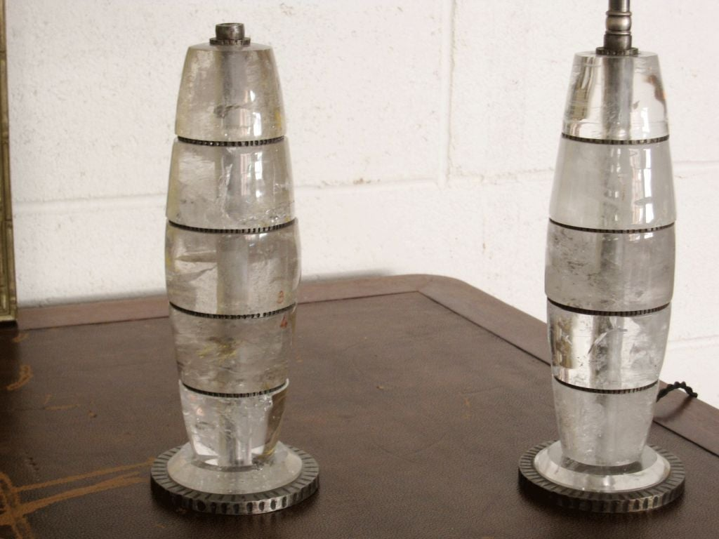 Contemporary Pair of Genuine Rock Crystal Lamps For Sale