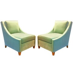 Maurice Hirsch Superb Pair of Slipper Chairs With Gold Leaf Legs