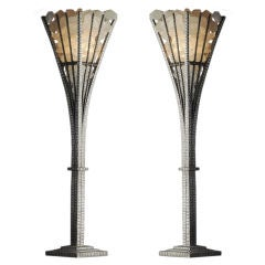 Pair of Hand Hammered and  Rock Crystal Table Lamps