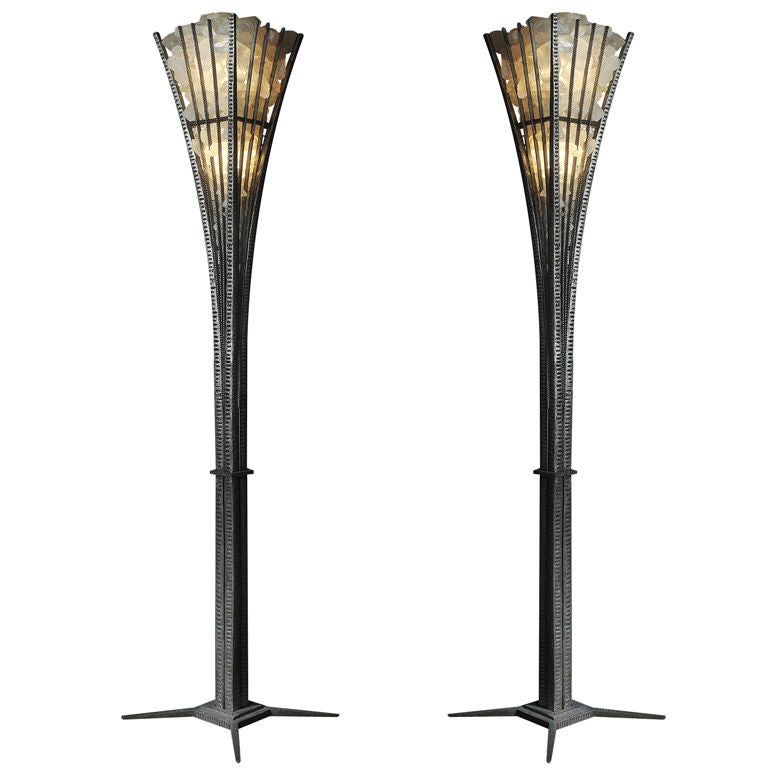 pair of wrought iron and rock crystal floor lamp for sale. Black Bedroom Furniture Sets. Home Design Ideas