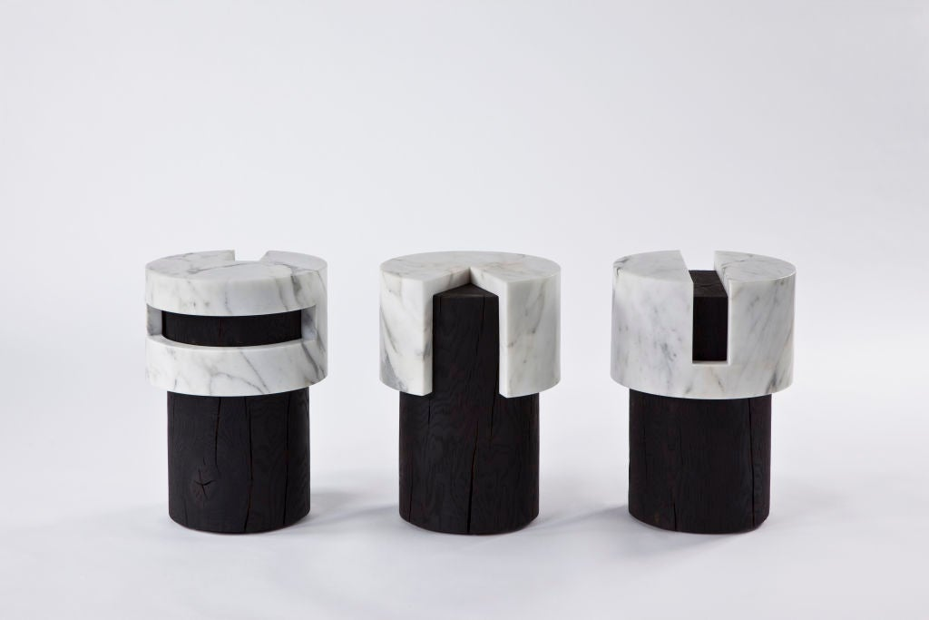 A series of 3 Stools/Tables in Wood and Statuary Marble by Stephane Parmentier