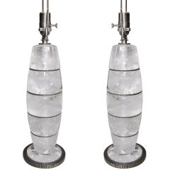 Spectacular Pair of Rock Crystal Lamps