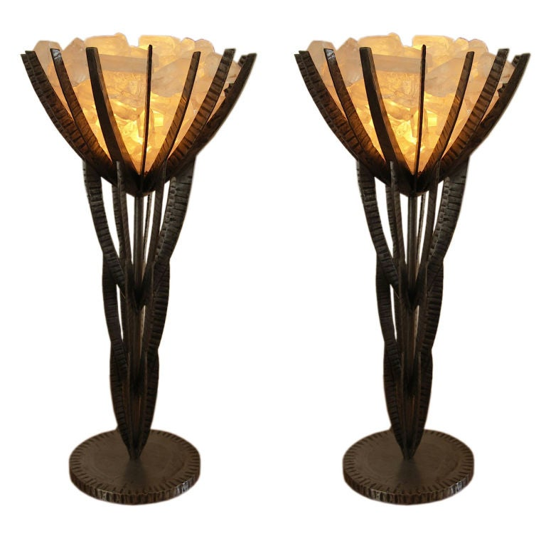 Crystal Chandelier Table Lamps For Sale: Pair Of Rock Crystal Table Lamps For Sale At 1stdibs