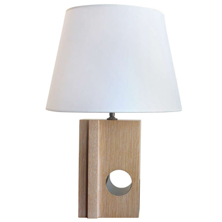 Table lamp in cerused oak by Designer Kimille Taylor.