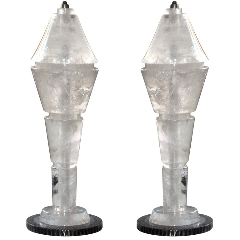large pair of rock crystal lamps for sale at 1stdibs. Black Bedroom Furniture Sets. Home Design Ideas