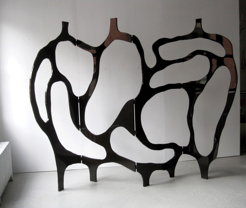 French Sculpture Screen by Jacques Jarrige in Black Lacquer ©2012 For Sale