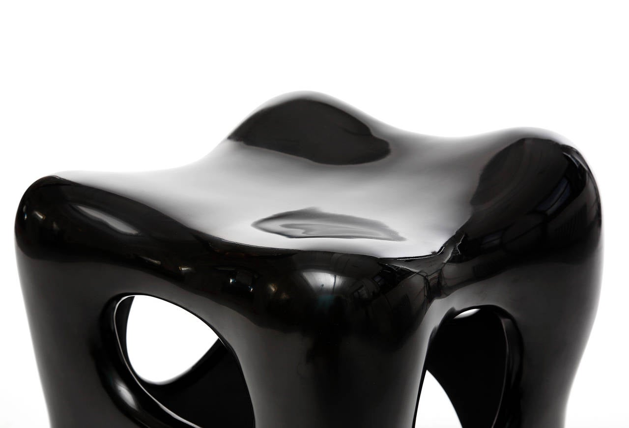 Pair of Hand-Lacquered Sculpted Stools by Jacques Jarrige, 2006 2