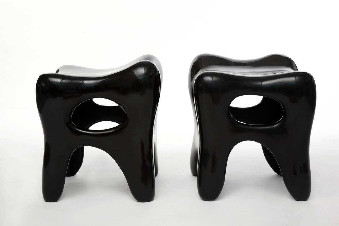 Contemporary Pair of Hand-Lacquered Sculpted Stools by Jacques Jarrige, 2006