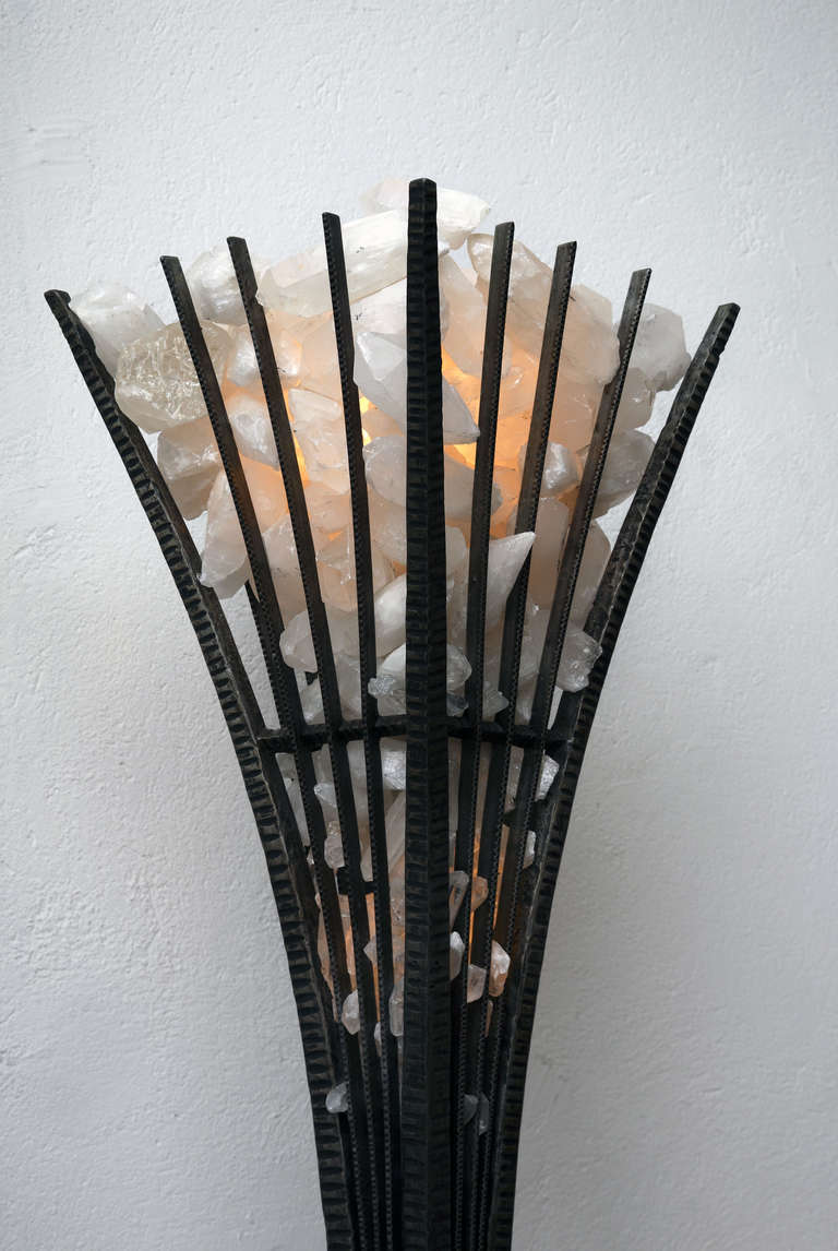 Contemporary Pair of  Wrought Iron and Rock Crystal Floor Lamp For Sale
